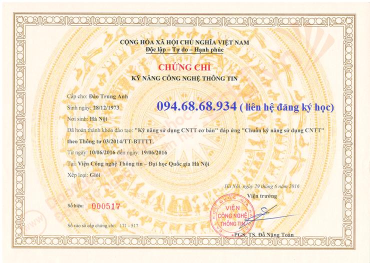 CHUẨN KỸ NĂNG CÔNG NGHỆ THÔNG TIN theo TT 03/2014/TT – BTTTT